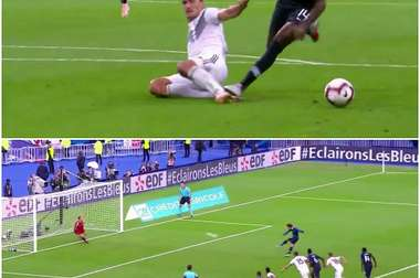 Griezmann scores a penalty to put France 2-1 up against Germany. Captura/Cuatro