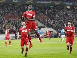 Guirassy celebrating his goal against Arsenal. Twitter/Cologne