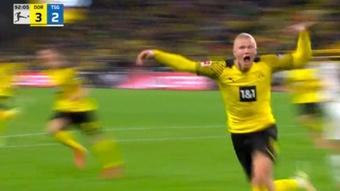 Haaland marcó el gol clave en la victoria del Borussia Dortmund. Captura/MovistarLigaDeCampeones