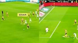 Haaland corrió a una media de 30 km/h. Capturas/Bundesliga