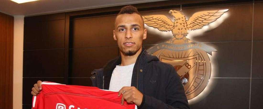 Hany Mukhtar, en su presentación como jugador del Benfica. Benfica