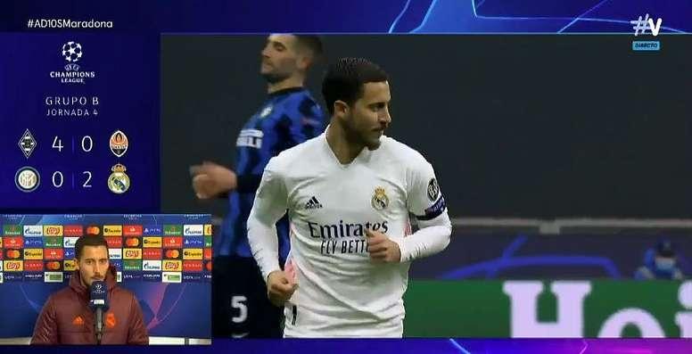 Hazard analizó la victoria ante el Inter. Captura/MovistarLigadeCampeones