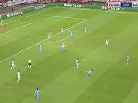 Héber colocó el 0-1 en el campo del Olympiacos. Twitter/SkySport