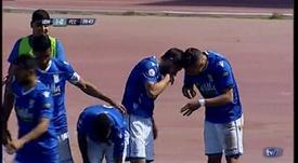 La polémica celebración por la que el Melilla se tuvo que disculpar. Captura/TVMelilla
