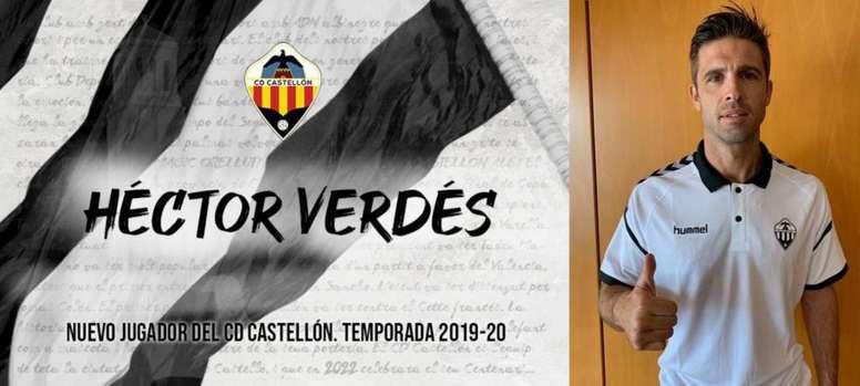 Héctor Verdés se incorpora al Castellón. Twitter/CD_Castellon