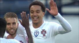 Helder Costa marca seu primeiro gol com Portugal. Captura/Cuatro