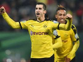 Henrikh Mkhitaryan et Pierre-Emerick Aubameyang, auteurs des deux buts du Borussia Dortmund en Coupe d'Allemagne. AFP