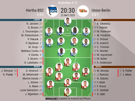 Hertha BSC v Union Berlin. Bundesliga 2019/20. Matchday 27, 22/05/2020-official line.ups. BESOCCER