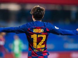 Hiroki Abe, protagonista ante La Nucía. FCBarcelonaB