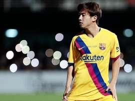 Hiroki Abe hizo el tanto de los azulgranas. Twitter/FCBarcelonaB