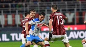 Um ponto que não cura a situação de Milan e Napoli. Twitter/sscnapoli