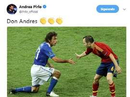 Pirlo chose a touching picture for his message to Iniesta. Twitter/Pirlo_official