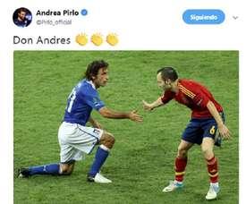 Pirlo não esqueceu Iniesta. Twitter/Pirlo_official