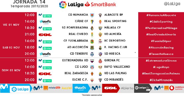Estos son los horarios de la Jornada 14 de Segunda División. LaLiga