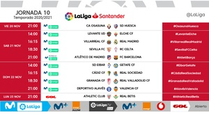 La Liga matchday 10 times announced. LaLiga