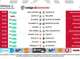 LaLiga anunció los horarios de una jornada 4 que será intersemanal. LaLiga