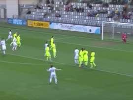 Hotic en el momento de anotar su primer gol como jugador profesional. PRVALigaTelekom