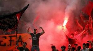 L'effectif du Dynamo Bucarest au bord de la grève. EFE