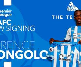 Kongolo joins Huddersfield for a club-record fee. Twitter/HTACFdotcom