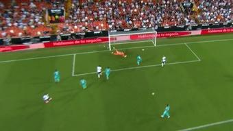 Hugo Duro marcó para el Valencia. Captura/MovistarLaLiga