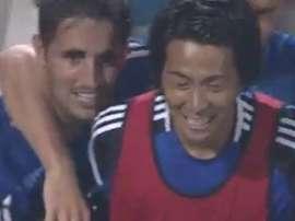 Hugo Vieira célèbre son but marqué face à Sanfrecce Hiroshima. Twitter