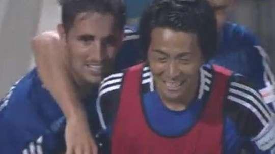 Hugo Vieira celebra su gol anotado ante el Sanfrecce Hiroshima. Twitter