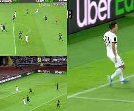 Hunou fait mal au PSG dès la 13e minute du Trophée des champions. Capturas/BeINSports