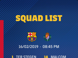 I convocati del Barça per il Valladolid. Twitter