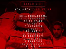 I convocati del Milan per l'Atalanta. Twitter/Milan