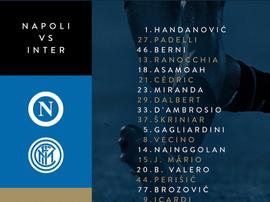 I convocati dell'Inter per la sfida contro il Napoli. Twitter/Interfc