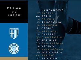 I convocati dell'Inter per il Parma. Twitter/Inter