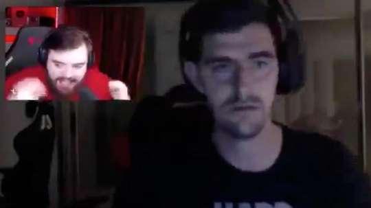 Courtois foi zuado por um amigo streamer. Captura/twitch.tv/ibai