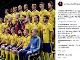 Ibrahimovic felicitó a la Selección Sueca. Instagram/iamzlatanibrahimovic