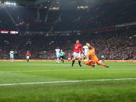 Ibrahimovic fires past Adrian for United's first goal. ManUtd