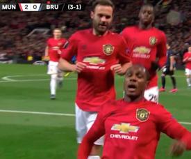 Ighalo inscrit son premier but sous les couleurs de Man United. Capture/MovistarFutbol