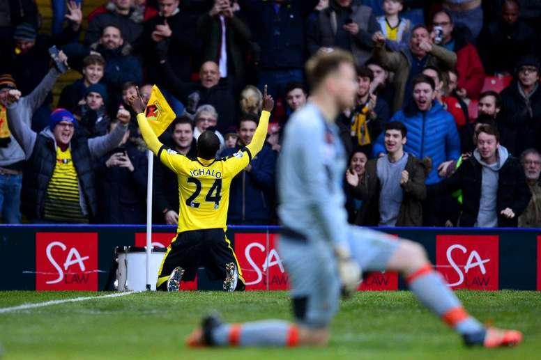 Ighalo celebra su tanto ante el Newcastle. Twitter