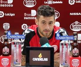 Igor Martínez, centrocampista del CD Lugo, durante una rueda de prensa. CDeportivoLugo