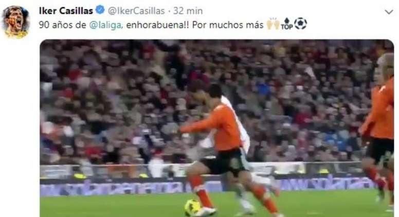 Casillas deseó una larga vida a LaLiga. Twitter/IkerCasillas