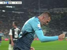 Ilicic ouvre la marque contre la Juve. Capture/ESPN