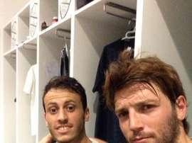 Ilie Sánchez y Javier Espinosa, tras un entrenamiento con el Elche. ElcheClubdeFútbol