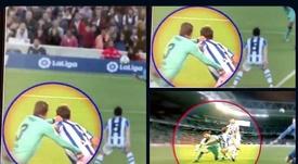 La Real Sociedad compartió otras imágenes del supuesto penalti. Twitter/RealSociedad