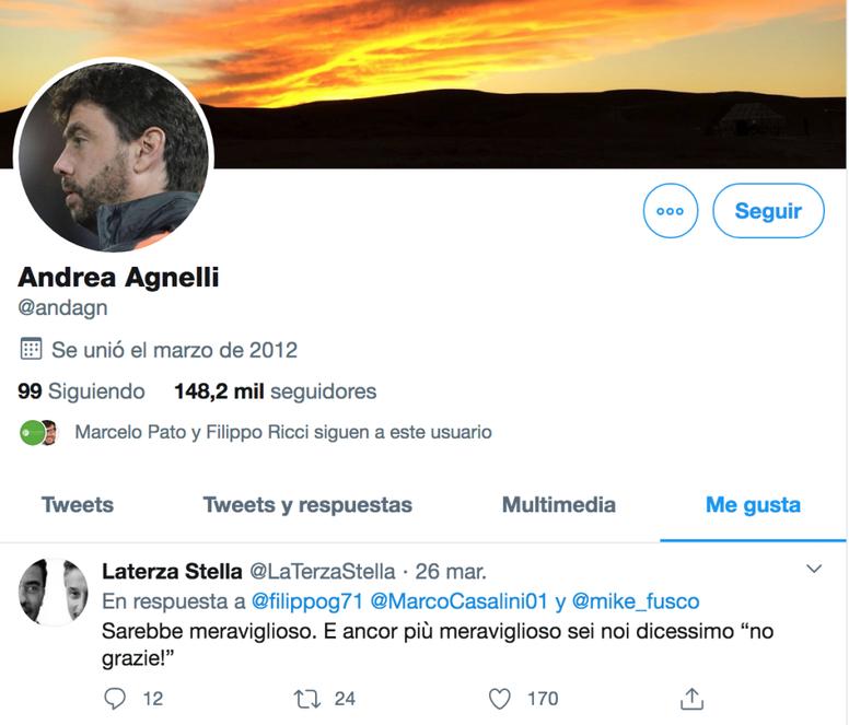Agnelli e il curioso 'like' su Twitter. Twitter/AndreaAgnelli