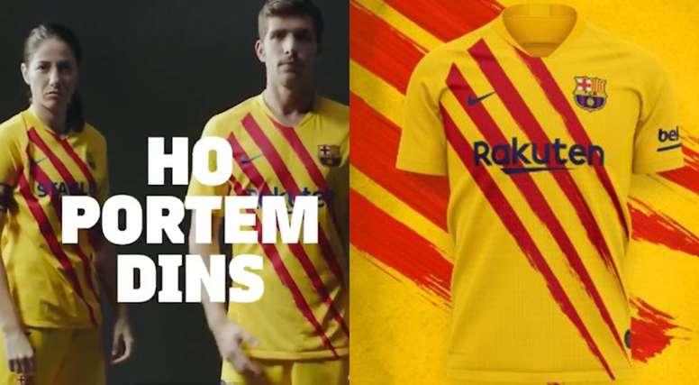 O Barça apresenta seu quarto uniforme: a Senyera. FCBarcelona