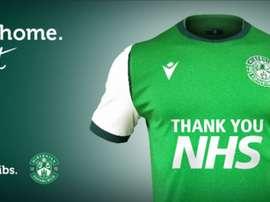 Equipe homenageia profissionais da saúde em sua camisa. HibernianFC