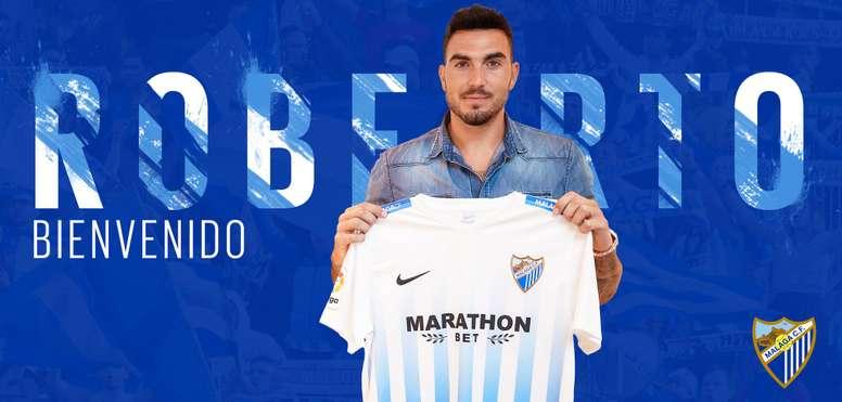 Roberto será o substituto directo de Kameni no La Rosaleda. Twitter/MalagaCF