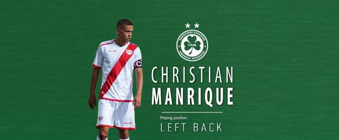 Manrique abandonó el Rayo tras cuatro temporadas en el club vallecano. Twitter/ACOmoniaNicosia