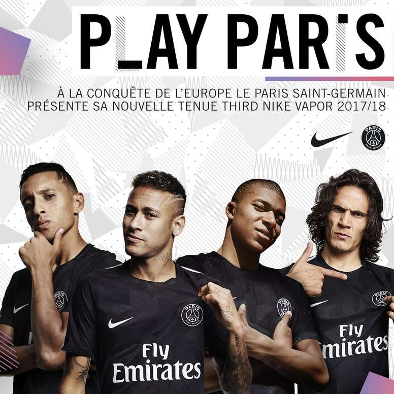 f4823bb9a1a Neymar and Mbappe show off new PSG third kit - BeSoccer