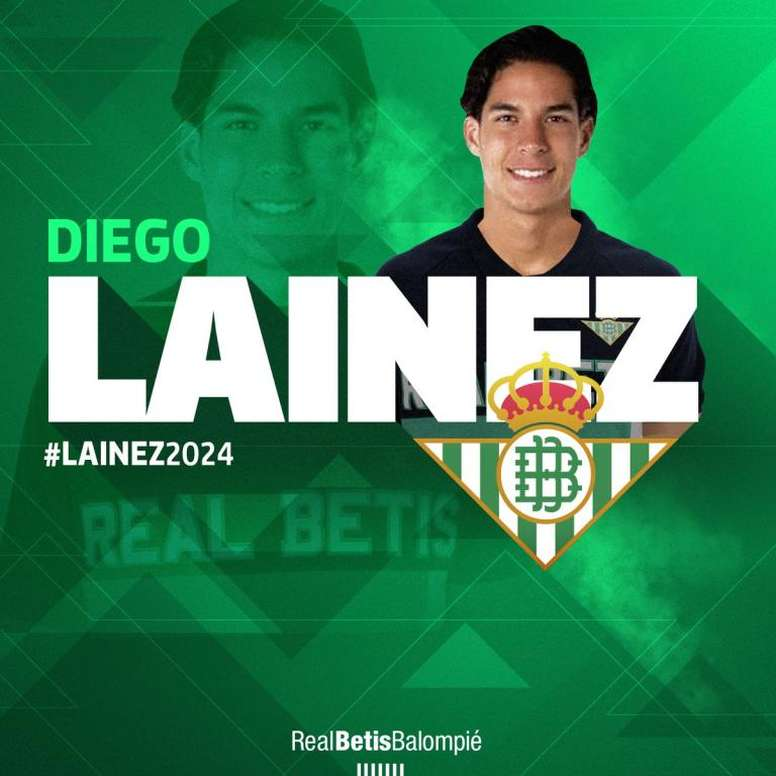 Lainez ya es jugador del Betis. Twitter/RealBetis