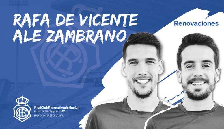 Rafa de Vicente y Ale Zambrano seguirán otro año en el Recre. Twitter/RecreOficial