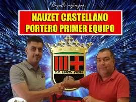 Nauzet Castellano jugará en el Unión Viera. Twitter/CFUnionViera